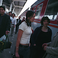 Susan Elderkin, SInead Morrissey andToby Litt, British writers and poets, on (unidentified) station platform as they travel on the 30 hour train trip between Kunming and Guangzhou as part of the Think UK Writers Train project. The Think UK China Writers Train is a project, in collaboration with the British Council, to take 4 UK writers/poets and 4 Chinese writers/poets around China by train visiting 6 major cities, in 17 days, to hold talks, seminars and readings of their work.