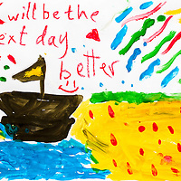 """""""Will be the next day better."""" A drawing by a Syrian refugee child of her idea of a good future."""
