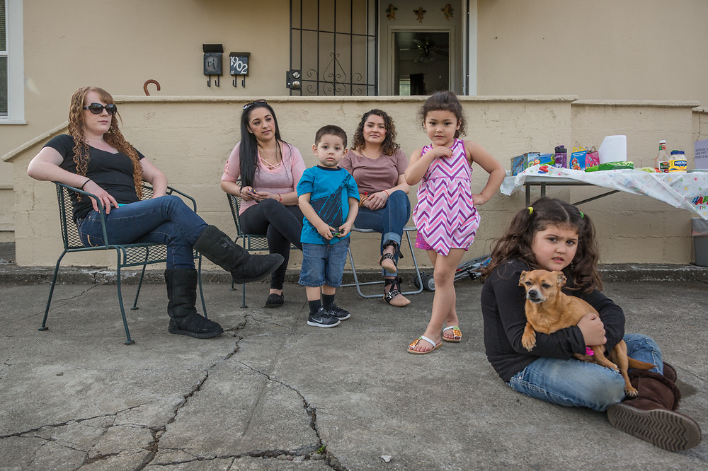Cassie Bohan, Aly Hernandez and Liz Solano with Franco (2), Isabella (4), and Annabelle (6) participate in their first outdoor bar-b-que/birthday party of the year at the corners of Filmore and Fair Streets in Calistoga.