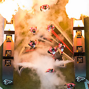 Atlanta Falcons players enter the field from the tunnel during player introductions before an NFC Divisional Playoff NFL football game against the Seattle Seahawks on Saturday, Jan. 14, 2017 in Atlanta. The Falcons won, 36-20. (Ric Tapia via AP)