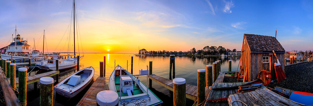 St Michaels Maryland boat dock at sunrise