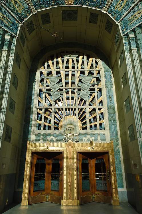 Marine Building entrance, downtown Vancouver, British Columbia, Canada.