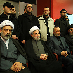 Hezbollah number two, Naim Qassem, second from left, and Iranian Foreign Minister Manouchehr Mottaki, middle, pay their respects to slain militant commander Imad Mugniyeh in Beirut, Lebanon on Feb. 14, 2008. Imad Mugniyeh was killed in a mysterious car bombing in Damascus, Syria. Mugniyeh a.k.a. Hajj Radwan, was among the most feared terror operatives in the world.