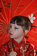Israel, Purim A young Girl of 5 dressed up as a Japanese Model Release Available