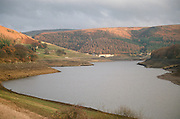 Low water level at Ladybower Reservoir during the drought of 1995. 27/11/95