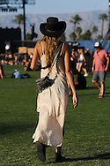 Gaucho Hat and White Silk Dress, Coachella 2015 Day Two