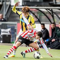 ROTTERDAM - Sparta - Vitesse , Voetbal , Eredivisie , Seizoen 2016/2017 , Het Kasteel , 11-12-2016 ,  eindstand 3-1 , Sparta speler Mart Dijkstra (l) in duel met Sparta speler Loris Brogno (r)