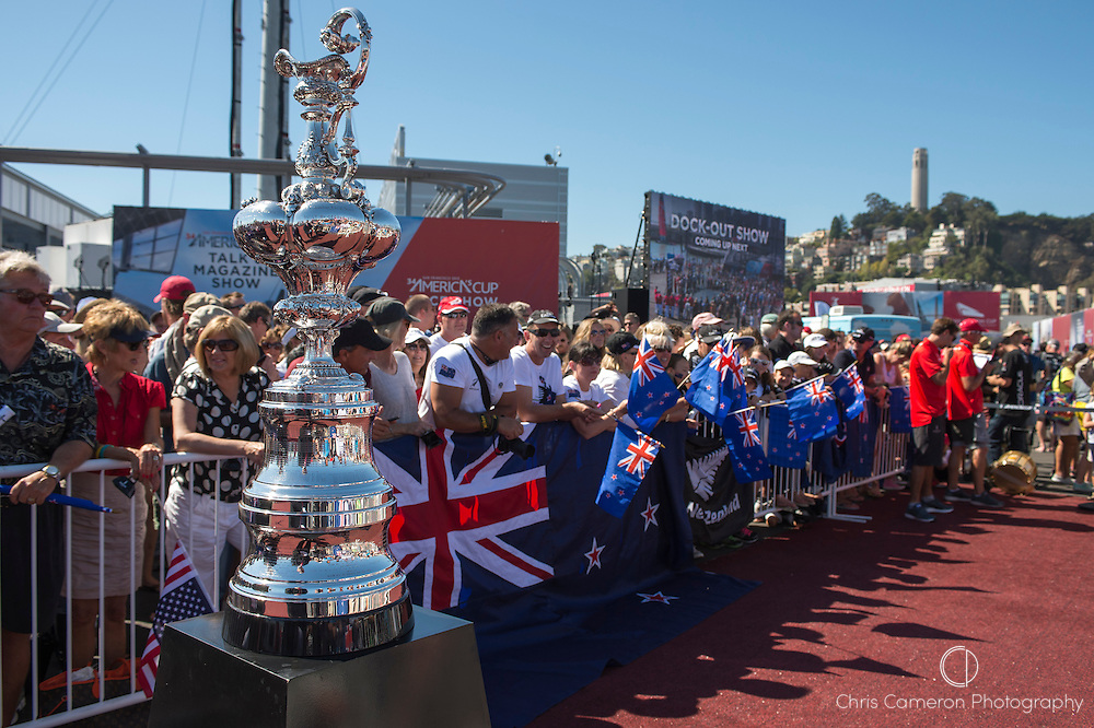 fans of Emirates Team New Zealand at the dock out show on the first day of racing of the America's Cup 34. 7/9/2013