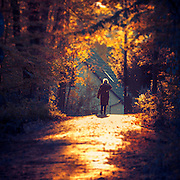 Woman walking into the bright evening light on a road leading out of a forest - manipulated and texturized photograph