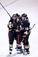 6 June 2007: Goal celebration by Francois Beauchemin, Todd Marchant and Corey Perry  during game 5 of the NHL Stanley Cup playoff championship game where the Anaheim Ducks defeated the Ottawa Senators 6-2 in regulation at the Honda Center in Anaheim, CA.