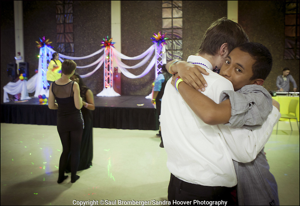Couple dancing at the end of 'The 20th Annual Hayward Gay Prom, at Chabot College, in Hayward, CA.