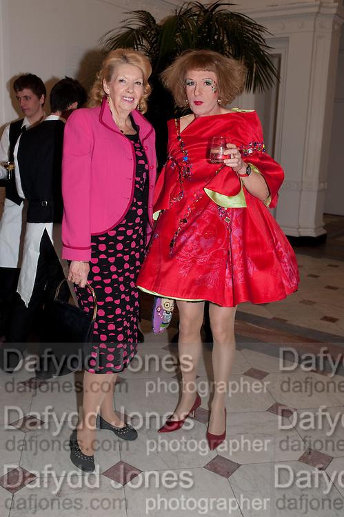 INGEBORG SCOTT; GRAYSON PERRY, Royal Academy Schools Annual dinner and Auction 2012. Royal Academy. Burlington Gdns. London. 20 March 2012.