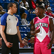 Delaware 87ers Guard NATE ROBINSON (1) speaks to the official in the mist of a time out in the first half of an NBA D-league regular season game between the Delaware 87ers and the Salt Lake City Stars (Utah Jazz) Friday, March 17, 2017 at The Bob Carpenter Sports Convocation Center in Newark, DEL