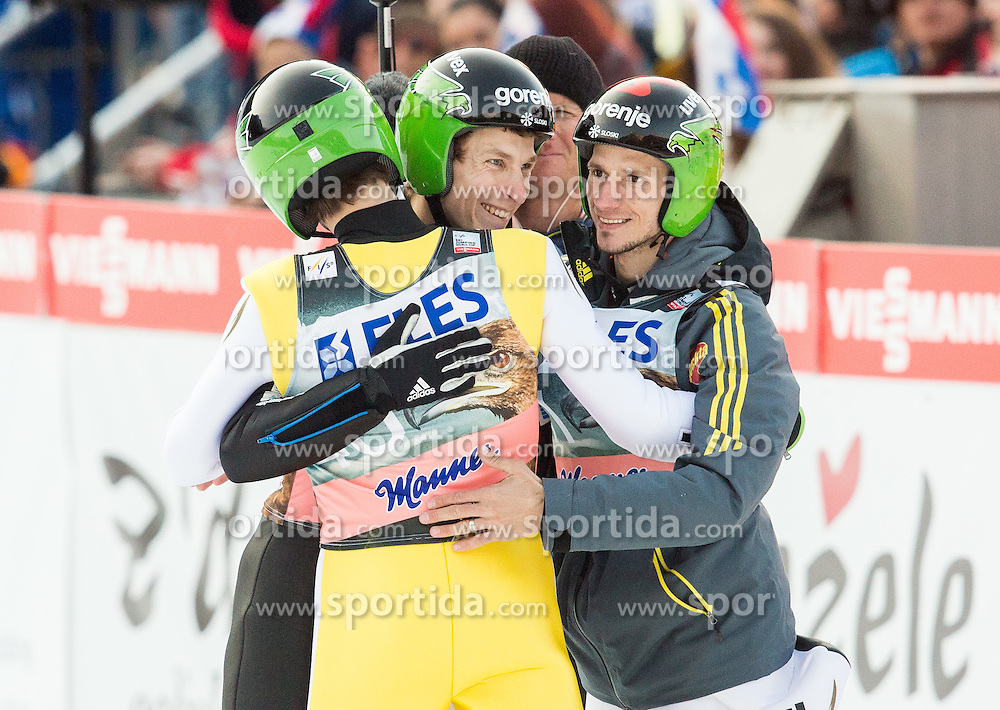Winner Peter Prevc of Slovenia, second placed Jurij Tepes of Slovenia and Robert Kranjec of Slovenia celebrate after  the Ski Flying Individual Competition at Day 2 of FIS World Cup Ski Jumping Final, on March 20, 2015 in Planica, Slovenia. Photo by Vid Ponikvar / Sportida