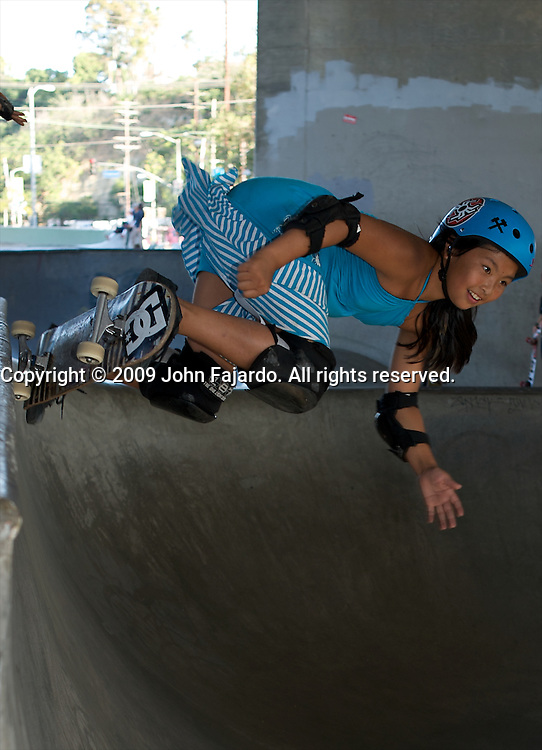 Skateboarder enjoying an afternoon at the Channel Street Skate Park.
