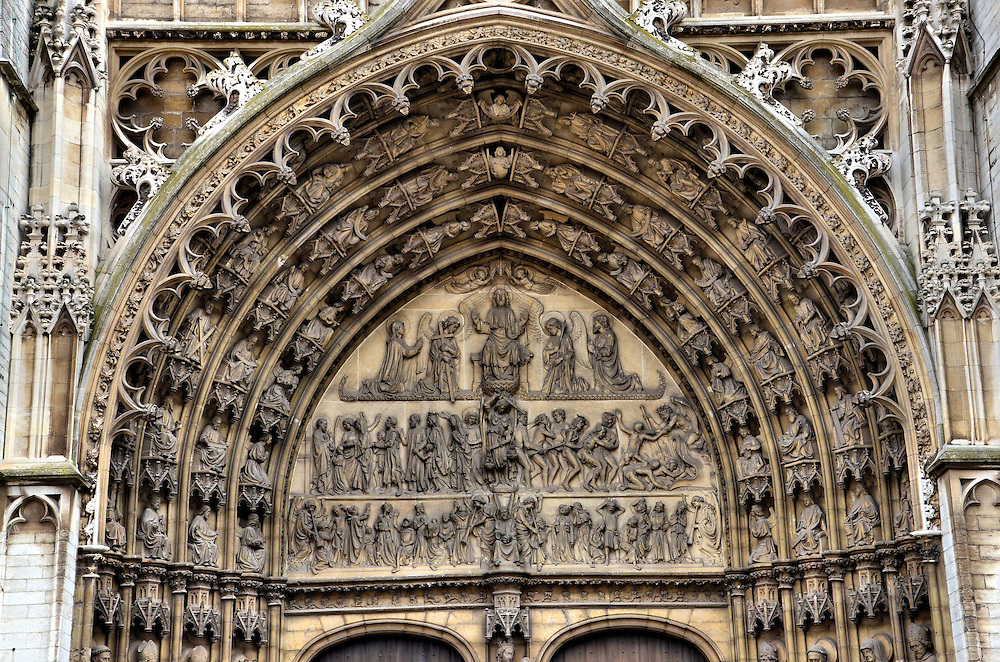 Cathedral of Our Lady Portal of Last Judgment in Antwerp, Belgium <br />