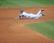 Ole Miss' Will Allen (30) is safe at second vs. Rhode Island at Oxford-University Stadium in Oxford, Miss. on Friday, February 22, 2013. Ole Miss won 8-1 to improve to 5-0.