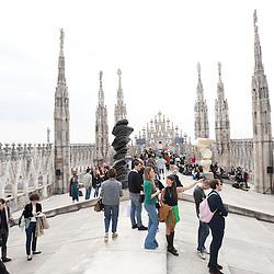 Foto Piero Cruciatti / LaPresse<br /> 16-04-2015 Milano, Italia<br /> Cultura<br /> Inaugurazione della mostra di sculture di Tony Cragg allestita sulle Terrazze del Duomo di Milano.<br /> Nella Foto: Vista generale dell&rsquo;installazione<br /> <br /> Photo Piero Cruciatti / LaPresse<br /> 16-04-2015 Milan, Italy<br /> Culture<br /> Inaugurazione della mostra di sculture di Tony Cragg allestita sulle Terrazze del Duomo di Milano<br /> In the Photo: a general view of the installation of sculptures