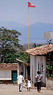 SANTA RITA, CHALATENANGO, EL SALVADOR- MAY 2000: Support for the FMLN, Farabundo Martí National Liberation Front is still strong in many of the towns of Chalatenango state. Santa Rita is known as the oldest and best established coffee region in the country.  (Photo by Robert Falcetti). .