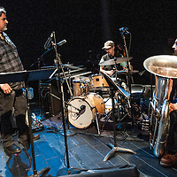 Tony Malaby plays in his Tony Malaby Tuba Trio at the Culture Project Theater on Bleeker Street with Dan Peck playing tuba and John Hollenbeck on drums during the NYC Winter Jazz Fest New York City, NY, Friday January 11, 2013.
