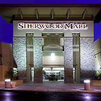 Facade of the Sherwood Mall shopping Center at Dusk. Stockton, California