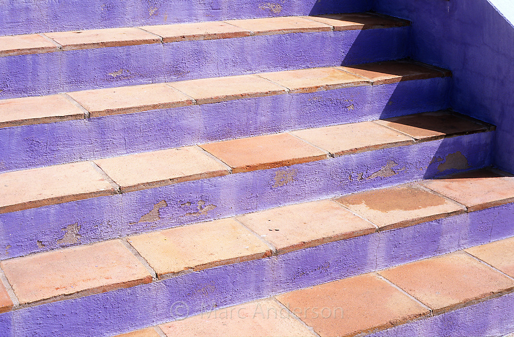 Purple stairs in an urbanisation on the Costa Del Sol, Spain