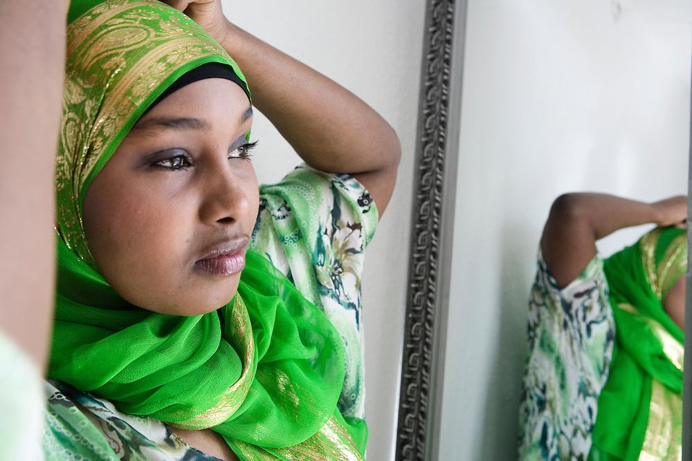 Aarhus, Denmark, May 11, 2010. Nuro, Muslim girl from Somalia who lives in Denmark  studying medicine at the Teknologisk Institut.