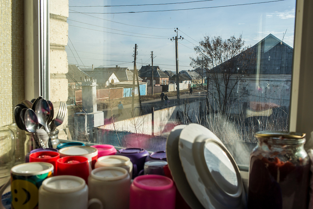 A view out the window of the Good Word Protestant Church on Thursday, December 10, 2015 in Mariinka, Ukraine.