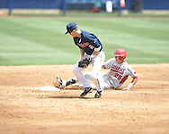 Mississippi's Alex Yarbrough (2) takes the throw as Arkansas' Dominic Ficociello, right, slides in safely with a two-run double during their NCAA college baseball game in Oxford, Miss., on Sunday, April 22, 2012.