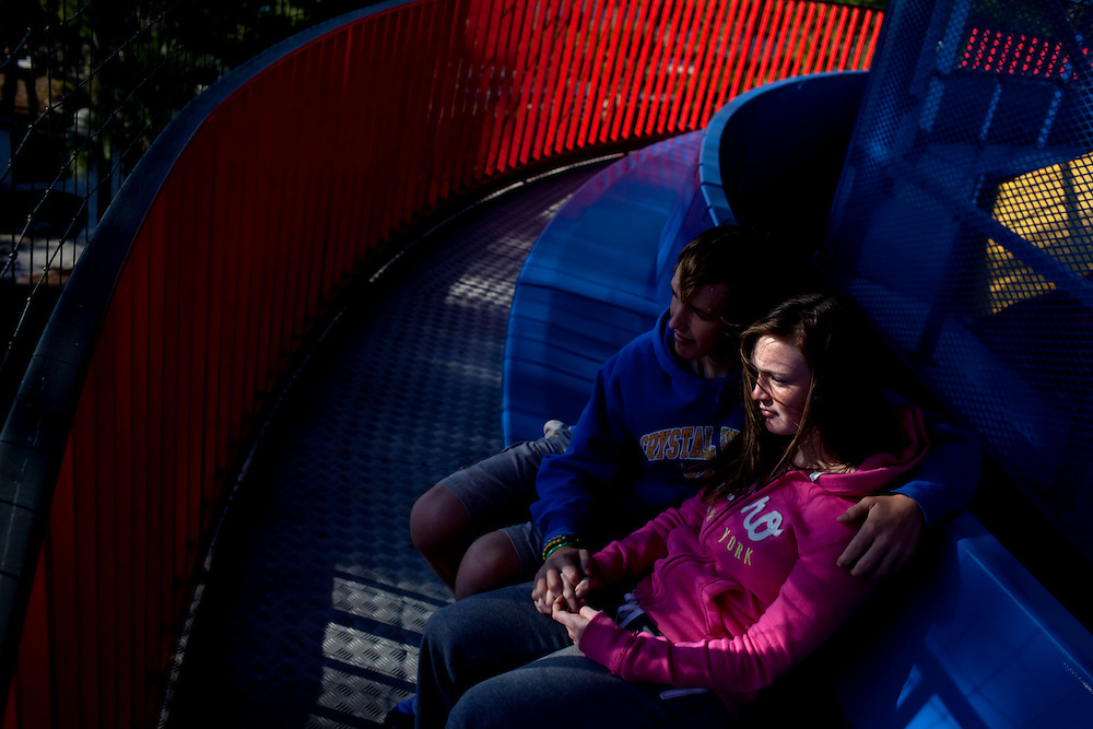 Casey Purnell, 15, with his girlfriend Kendal Stark, 14, ride Island in the Sky overlooking the new theme park Legoland in Whitehaven, Florida on February 11, 2012.