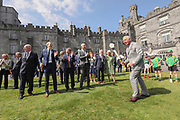Repro Free No Charge for retro<br /> 11-5-17<br /> HRH Prince Charles pictured hitting a sliotar with a hurl at Kilkenny Castle during his visit to the City yesterday.<br /> Also in the Picture is Minister Charlie Flanagan, Department of Foreign Affairs and Transport.<br /> , Henry Shefflin, Sean Canney Minister for State for the OPW and Flood Relief, Brian Cody, Collette Byrne CEO of Kilkenny County Council, Cllr. Matt Doran, Chairman of Kilkenny County Council and HRH The Duchess of Cornwall.<br /> <br /> Picture Dylan Vaughan.