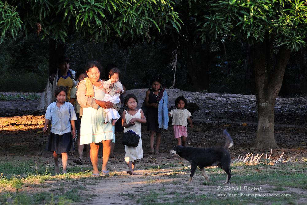 Yuracare family walking near San Lorenzo, Beni, Bolivia