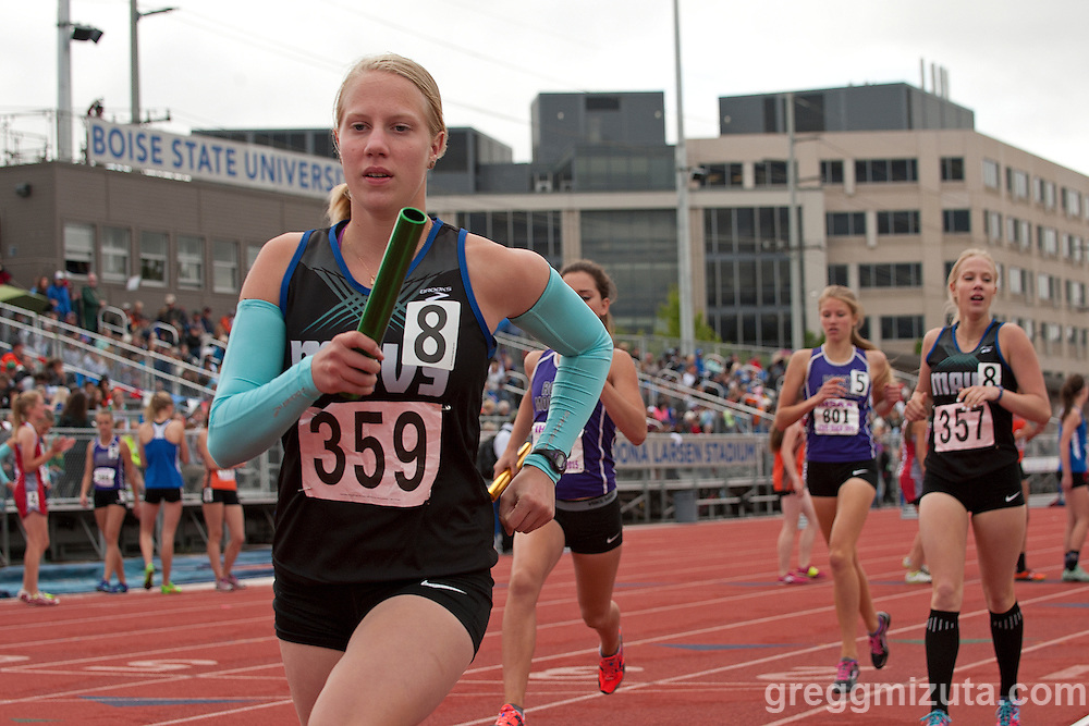 Mountain View senior Allison Ellingson in the 5A 4x800 during the Idaho High School Track & Field State Championships at Dona Larson Park, Boise, Idaho. May 15, 2015.