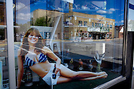 Window display for a liquor store in downtown Rhinelander, Wisconsin.