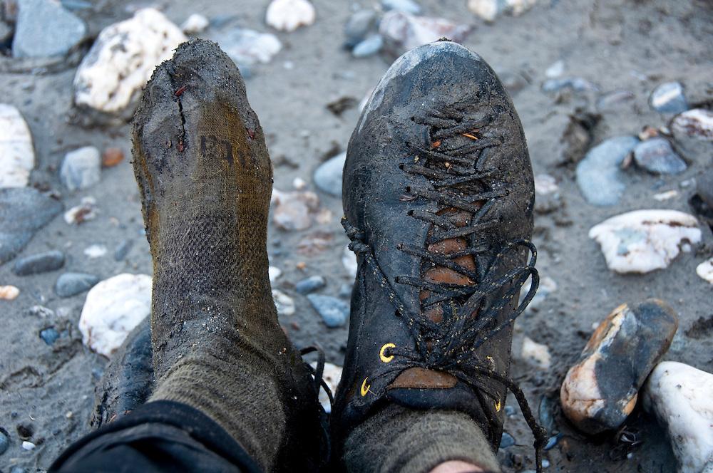 Mikey Schaefer, feet, Arrigetch Peaks, Brooks Range, AK