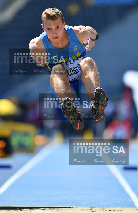 BYDGOSZCZ, POLAND - JULY 20: Aleksandr Malosilov of Ukraine in the qualification of the mens triple jump during the morning session on day 2 of the IAAF World Junior Championships at Zawisza Stadium on July 20, 2016 in Bydgoszcz, Poland. (Photo by Roger Sedres/Gallo Images)