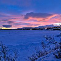 """Lake Torneträsk 8:22 AM during the """"pre-dawn"""" hour."""