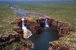 Wet season aerial view of King George Falls on the east Kimberley coast.