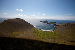 Oiseval and the Village Bay, Hirta, the largest island of the St Kilda archipelago, west-northwest of North Uist in the North Atlantic Ocean. It is one of Scotland's five World Heritage Sites..©Michael Schofield..