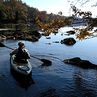 Kayaking on Cedar Creek Reservoir (Stumpy Pond) near Great Falls, SC. This is the Heritage Tract, protected for a future State Park by Katawba Valley Land Trust