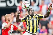 ROTTERDAM - Feyenoord - Vitesse , Voetbal , Seizoen 2015/2016 , Eredivisie , De Kuip , 23-08-2015 , Speler van Feyenoord Karim El Ahmadi (l) in duel met Vitesse speler Marvelous Nakamba (r)