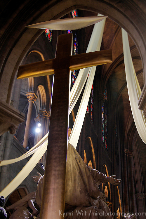 Europe, France, Paris. Notre-Dame Cathedral Cross.