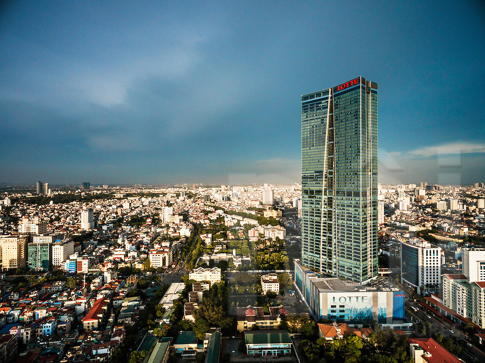 Aerial view of skyscraper LOTTE Tower in Ba Dinh District, Hanoi, Vietnam, Southeast Asia