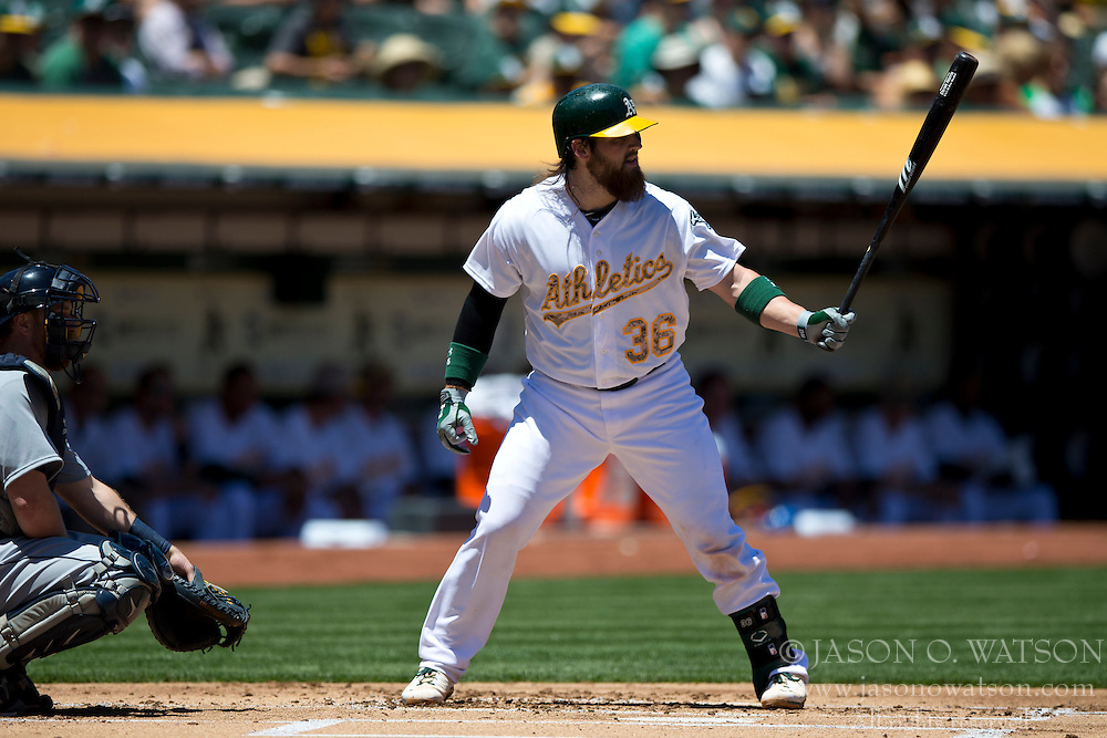 OAKLAND, CA - MAY 26:  Derek Norris #36 of the Oakland Athletics at bat against the Detroit Tigers during the first inning at O.co Coliseum on May 26, 2014 in Oakland, California. The Oakland Athletics defeated the Detroit Tigers 10-0.  (Photo by Jason O. Watson/Getty Images) *** Local Caption *** Derek Norris