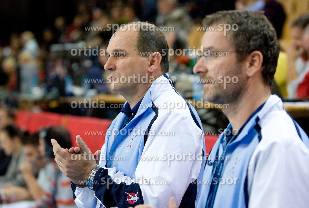 Head coach of Slovenia Ivica Rimanic and Bostjan Brulec at Women European Championships Qualifying handball match between National Teams of Slovenia and Belarus, on October 17, 2009, in Kodeljevo, Ljubljana.  (Photo by Vid Ponikvar / Sportida)