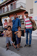 Esmael (husband) and Saheb Zade (wife) Bashira with their children and Saheb Zade&rsquo;s brother, in Mytilene city. <br /> They are from Kabul in Afghanistan where the husband had a street stall selling clothes. After an explosion near their home killed her nephew who was a policeman, they got scared and decided to leave the country. They want to go to Switzerland.