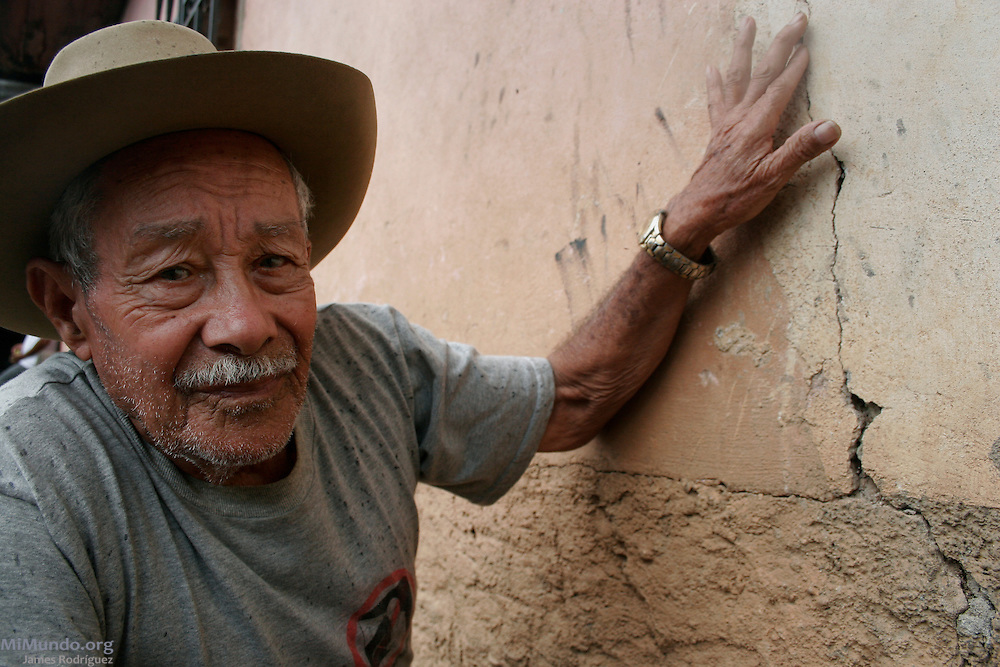 Guillermo Velásquez Centeno, resident of El Pedernal and member of the Environmental Committee of the Siria Valley, claims his home's walls were damaged due to the constant explosions from the nearby San Martin Gold Mine, owned by Canadian mining giant Goldcorp. El Pedernal, El Porvenir, Francisco Morazán, Honduras. August 18, 2007.