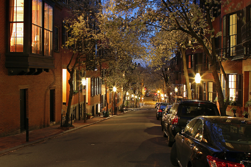Romantic Boston cityscape photography of old colonial brick row houses along lantern lit street in Beacon Hill on a beautiful spring night. Cherry blossom blowing in the wind while the lanterns provide the warm city street night light in Beacon Hill.<br /> <br /> Photos of Boston are available as museum quality photography prints, canvas prints, acrylic prints or metal prints. Prints may be framed and matted to the individual liking and decorating needs: <br /> <br /> http://juergen-roth.artistwebsites.com/featured/beacon-hill-romance-juergen-roth.html<br /> <br /> Good light and happy photo making! <br /> <br /> My best,<br />  <br /> Juergen<br /> www.RothGalleries.com <br /> www.ExploringTheLight.com <br /> http://whereintheworldisjuergen.blogspot.com<br /> https://twitter.com/naturefineart<br /> https://www.facebook.com/naturefineart