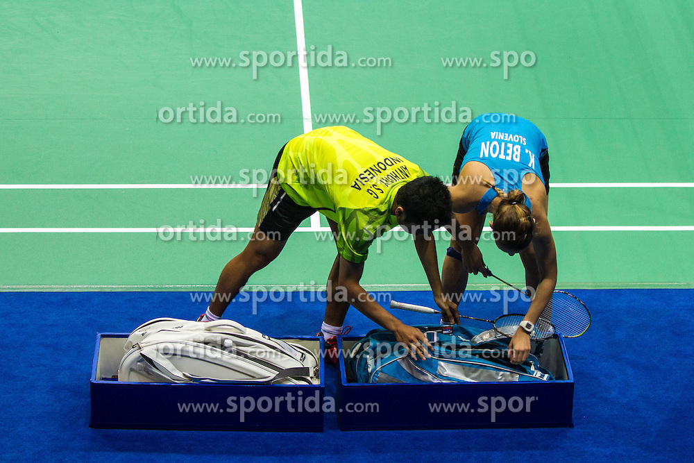 Katarina Beton, slovenian badminton player, at 2nd Summer Youth Olympic Games in Nanjing, China. Photo by: Peter Kastelic