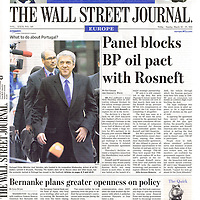 USE ARROWS &larr; &rarr; on your keyboard to navigate this slide-show<br /> <br /> The Wall Street Journal<br /> Cover photo of Portugal's Prime Minister Jose Socrates on the 25th March 2011.<br /> Photo: Reuters / Ezequiel Scagnetti